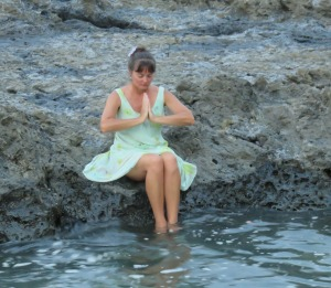 Sitting upon a lava rock at dusk with my feet in the warm Pacific waters of Costa Rica, 2015 Namaste!