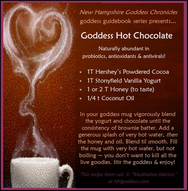 NH goddess chronicles Goddess Hot Chocolate recipe