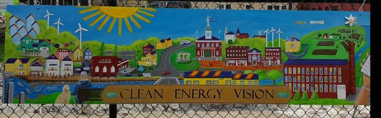 mural on Exeter NH river fence